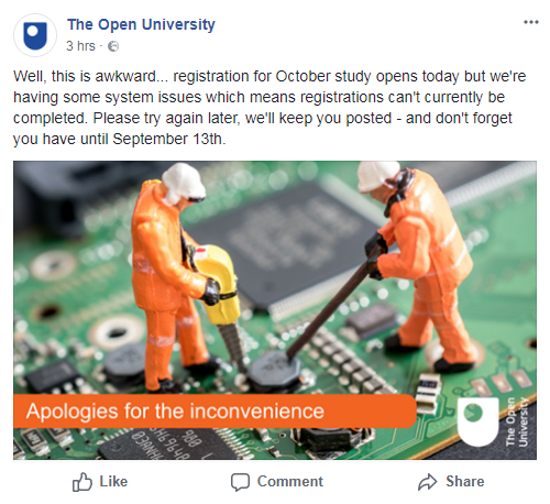 Open University FB account: 2018 Enrolment down